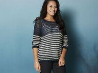 Women's Jumper Classic crochet for an elegant look Extra soft Navy S M L XL