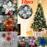 10PCS Artificial Christmas Tree Flower Glitter Poinsettia Party Xmas Decoration