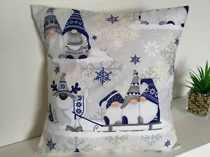 "16"" Christmas cushion cover Xmas Gonk Gnome Blue White Grey 40cm"