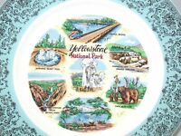 "Collectible Souvenir Plate ~ Yellowstone National Park ~ 9.25"" ~ Aqua Border"