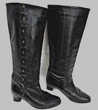 *BALLY* Vintage Soft Black Leather Knee Boots with Gilt Embellishments  SIZE 3.5