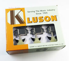 Kluson 3x3 Guitar Tuning Machines 3 Per Side - Nickel/Pearl, Gibson Style Tuners