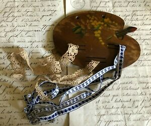 Unusual Vintage French Wooden Painters Palette shaped Ribbon and Lace Keeper