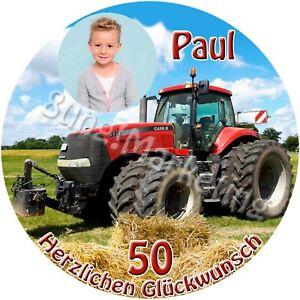 Tortenaufleger Traktor Tortendeko mit Wunschtext und Bild (606)