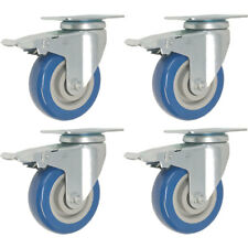 "Set of 4 Swivel Plate Caster Total Lock Brake 4"" BLUE Polyurethane Wheel"