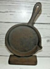 Vintage Cast Iron Skillet Pan Book End 8� x 5� Signed Emig Robert Emig Co.
