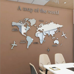 3D Mirror World Map Art Removable Wall Sticker Acrylic Mural Decal Home Decor WH