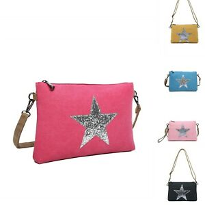 Star Canvas S-Medium Messenger Cross Body Shoulder Bag Woman Lady Super Neat UK