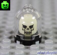 LEGO - Skull Evil w/ Eyebrow Glow In The Dark Brain Jar Skeleton Minifigure Head