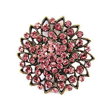 Vintage Bronze and Purple Rhinestones Flower Brooch Pin BR163
