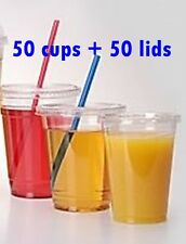 100 PC Plastic cups Cold cups and flat lids 16 oz , 50 cups +50 lids