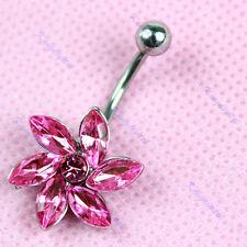 Fleur strass cristal ventre d'acier inoxydable piercing nombril anneau rose