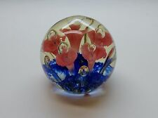 """Art Glass Finland """"A"""" Floral Coral Royal Blue Paperweight Jack In The Pulpit VgC"""