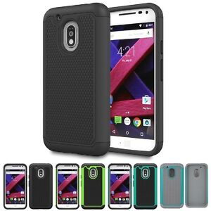 Shockproof Hybrid Grid Armor Protective Case Cover For Moto G4 Play / G Play /E3