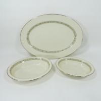 "Lenox Springdale China Oval 16"" Serving Tray Platter and 2 Vegetable Dish Bowls"