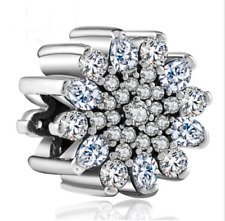 DIY Silver European CZ Charm White Crystal Spacer Bead Fit Necklace Bracelet