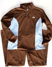 The North Face Women's XL Cocoa Brown/Aqua Blue Half Zip Fleece Track Suit NICE!