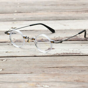 Vintage Small Round 36mm Hand Made Eyeglass Frames Titanium Acetate Full Rim Rx