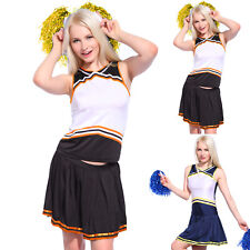 Cheerleader Fancy Dress Outfit High School Musical Uniform Costume w/ Pompoms
