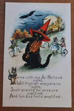 Vintage Halloween Whitney Made Cat Violin Witch Mouse Bat Poem Cute Postcard