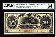 MEXICO 1903 50 PESOS SPECIMEN BANKNOT PMG64