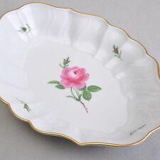 Meissen Rote Rose / Moosrose, ovale Konfekt o. Beilagen Schale, 26 x 18,5cm