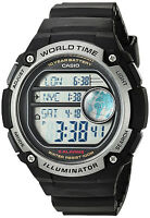 Casio Black World Time Map 5 Alarms 10 Year Battery Watch AE-3000W-1AV New