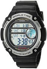 Casio Black World Time Map 5 Alarms 10 Year Battery Watch AE-3000W-1AV New