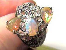STERLING SILVER OPAL RING 8.5 WHITE GOLD  PRINCESS 925 TRIO NATURAL AUSTRALIAN