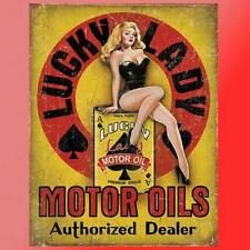 Lucky Lady Motor Oil Vinyl Decal Sticker Pinup Girl Retro Vintage Garage Man Hot