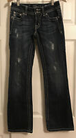 Miss Me Boot Cut Bling Distressed Jeans Size 27 Embellished JP4009-2