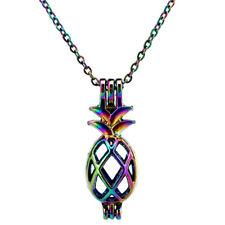 "C46 Multi Color Pineapple Pearl Cage Pendant Locket 18"" Rainbow Color Chain"