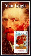2002 MNH SOMALIA VAN GOGH STAMPS SHEET ART ARTIST PAINTINGS SUNFLOWERS ON GOLD