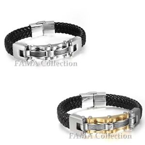 Quality FAMA Black Leather Bracelet with Wire Inlay and Centre CZ Select Colour