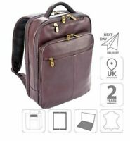 "15.6"" Laptop iPad Backpack Colombian Leather Bag Brown FI6706"