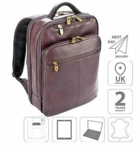 """15.6"""" Laptop iPad Backpack Colombian Leather Bag Brown FI6706"""