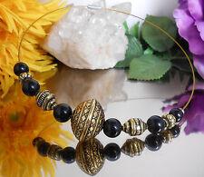 Edelstahl Halsreif goldfarbig - schwarze Glasperlen + Tibetan Style Perlen