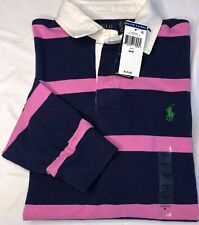 Polo Ralph Lauren Mens Rugby Classic Fit Iconic Striped Pink/Navy New With Tags
