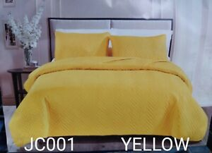 ROXY YELLOW SOLID COLOR SPECIAL FABRIC BEDSPREAD COVERLET SET 3 PCS KING SIZE