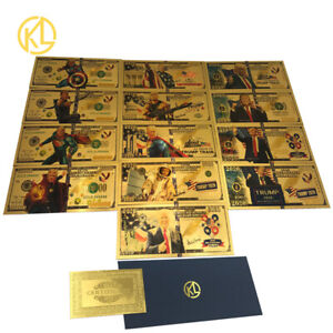 13pcs/Set Donald Trump 2020 Gold Banknote President Cards For Nice Gift