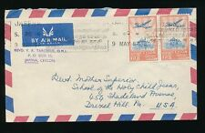 CEYLON 1957 SLOGAN MACHINE CANCEL JAFFNA to USA AIRMAIL 2 x 75c PERFINS VRT