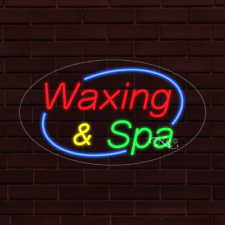 Brand New Waxing Amp Spa Withborder Oval 30x17x1 Inch Led Flex Indoor Sign 34614