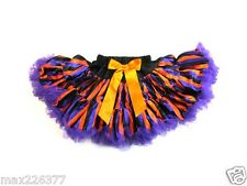 New Halloween tutu pettiskirt stripes black purple skirt costume 8 - 10 years