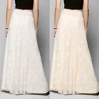Women Ladies High Waist Lace A-line Swing Skirt Wedding Party Banquet Long Dress