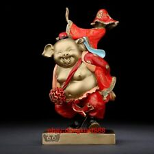 Chinese Red Crystal Hongshan Culture Pig Dragon Totem Statue--1184g Art