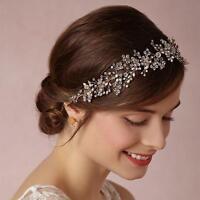 Elegant Beaded Bridal Halo Crystal Vine Silver Headpieces Wedding Dress Headband