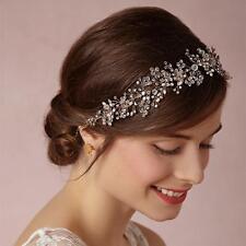 Elegant Beaded Bridal Halo Crystal Vine Silver Headpieces Wedding Headband 1 PC