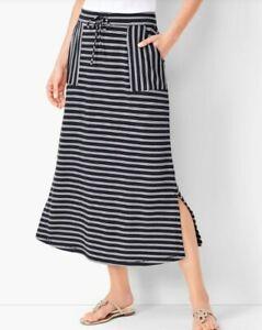 Talbots Plus Black/White Stripe Pockets Elastic Waistband Midi Skirt 2X