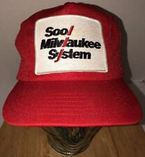 VTG SOOL MILWAUKEE SYSTEM 80s Trucker Hat Cap Snapback Adjusto USA RAILROAD