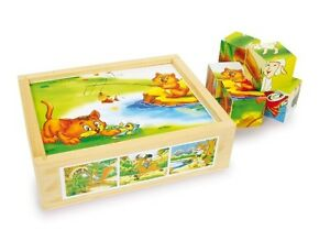 """Kw 6621 Holz-Würfelpuzzle """" Fun """" 6 Motive"""